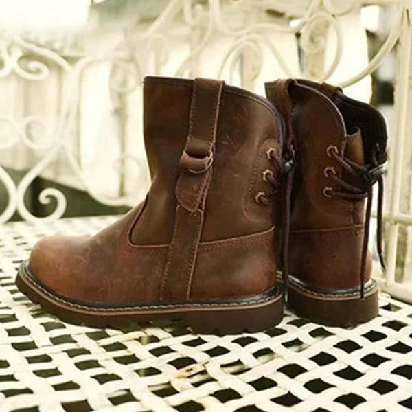 Upawear Women Daily Low Heel Laces Brown Boots
