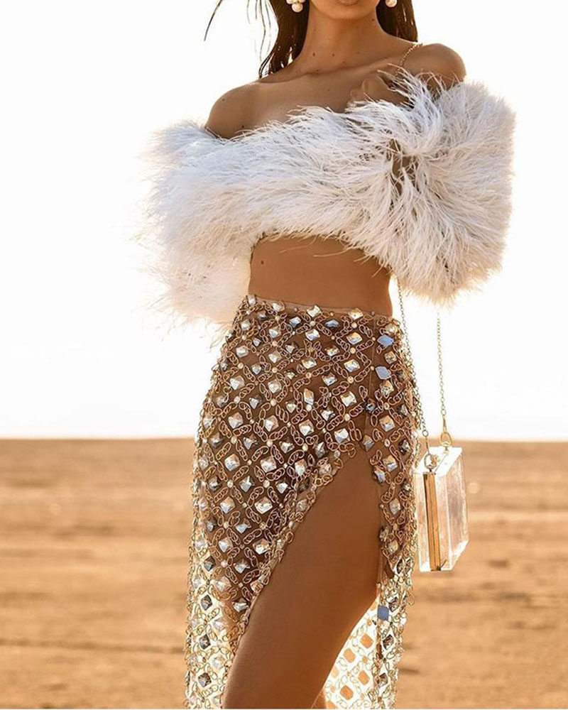Fashion Feather Top Sequined Skirt Two Piece Set
