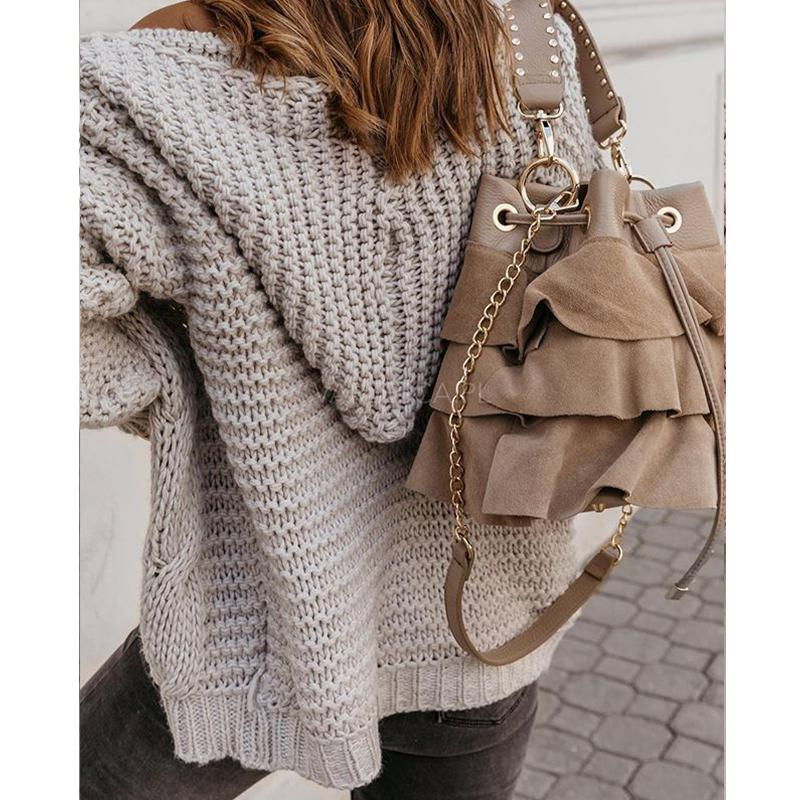 Women's hooded knitted cardigan sweater open front solid cardigan