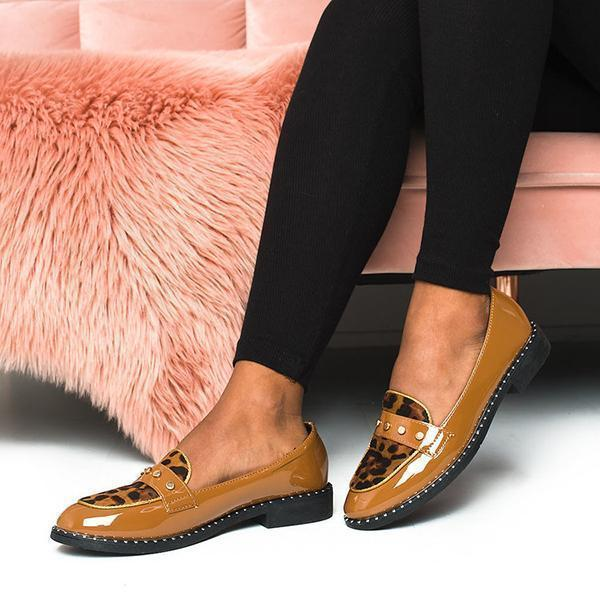 Zoeyootd Tris Patent Slip-On Flat Loafers
