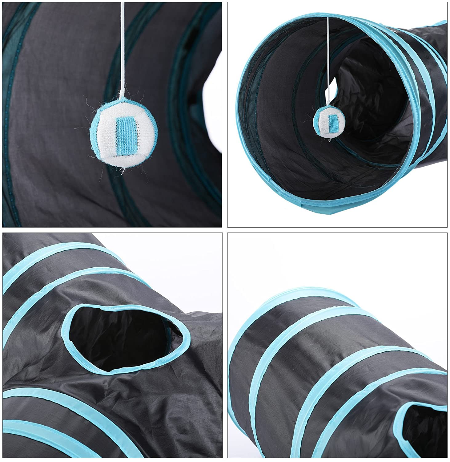 3 Way Collapsible Cat Tunnel With Ball Toy