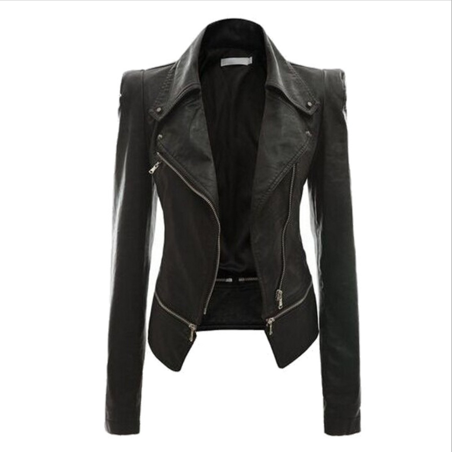 Women's turn down collar biker jacket zipper jacket coat