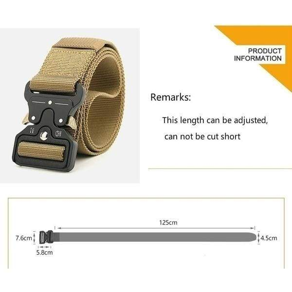 Men's Tactical Belt Military High Quality Nylon Training Belt with Metal Quick Release Buckle Casual Outdoor Belt