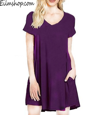 Summer Solid Color Beach Dress with Pockets Deep V-neck  Cotton Dress[BUY 3 FREE SHIPPING!!]