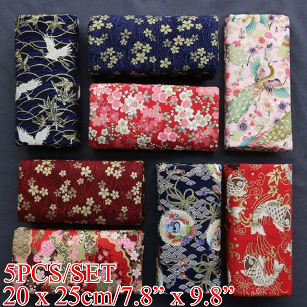 5PCS/SET Japanese Style Fabric Square Quilting Fabric DIY Bow Handmade Doll Material Sewing & Knitting Supplies(20x25cm)