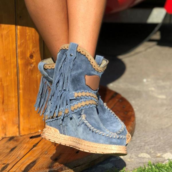Bonnieshoes  Vintage Tassel Stone-Washed Boots