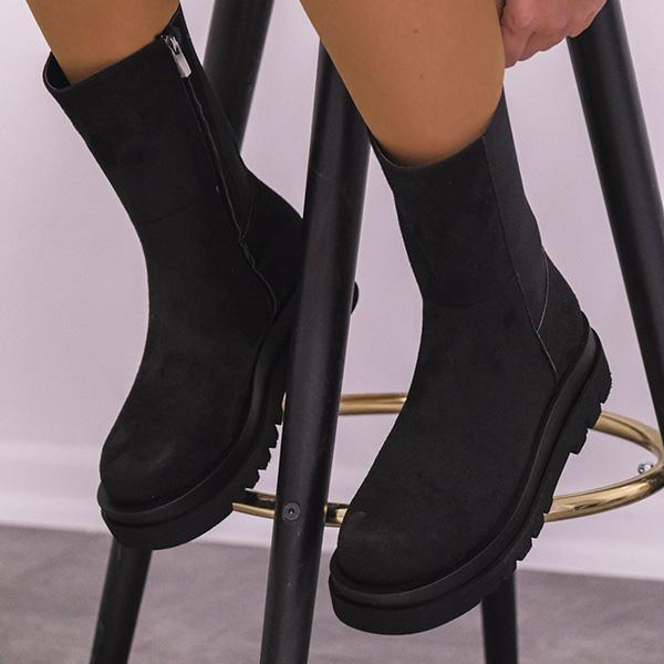 Mokoshoes Suede Rubber Thick Soled High Boots