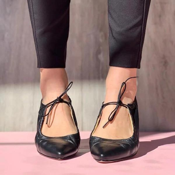 Zoeyootd Point Toe Lace-Up Flats Sandals