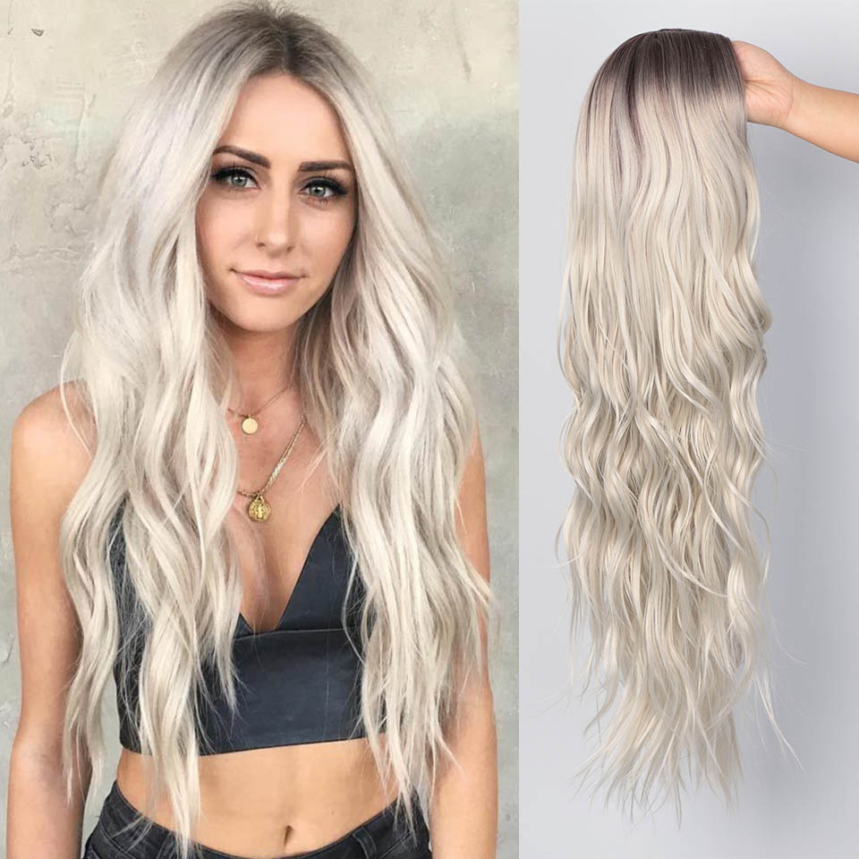 Lacwig® |  Long Wavy Wig Natural Part Side Hair Ombre Synthetic Wigs Platinum/Blonde/Black Wigs