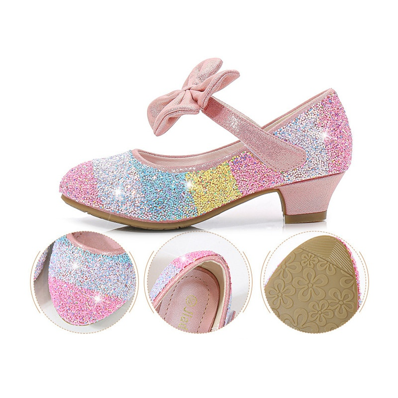 Girls' Leather Shoes Princess Shoes 2020 Spring Children's Shoes Round Head Soft Bottom Single Shoes In The Big Children's High Heels Princess Shiny Shoes Sandals for Girls
