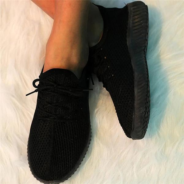 Zoeyootd Women Simple Flyknit Fabric Lace Up Breathable Sneakers