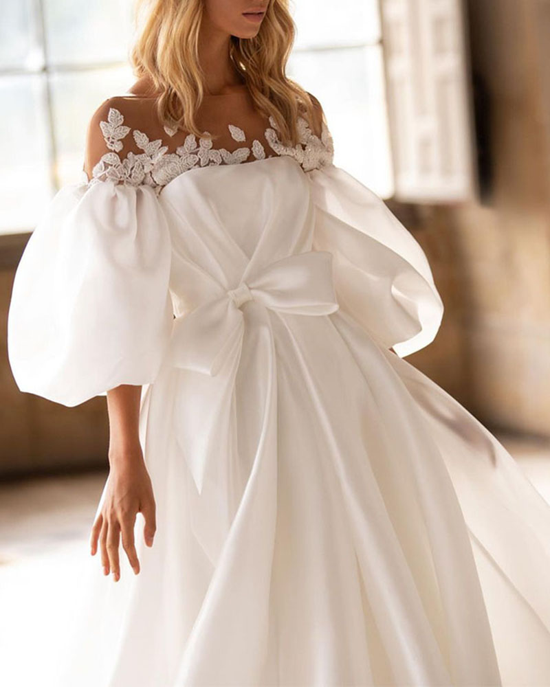 Fashion Puff Sleeve Lace Pure Color Wedding Evening Dress