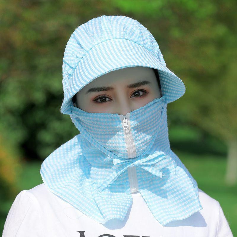 Women Ponytail Caps Sun Protection Riding Dustproof Face Mask Scarf Summer Anti-UV Face Cover Hat Protective Hat