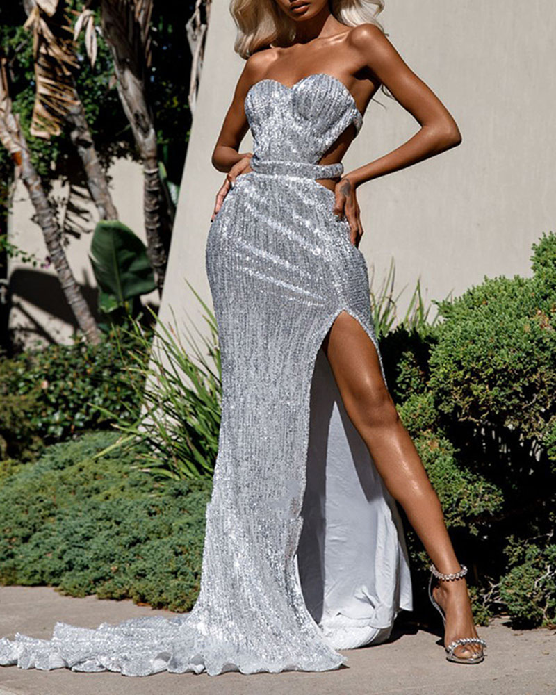 Strapless Sequined Backless Evening Dress