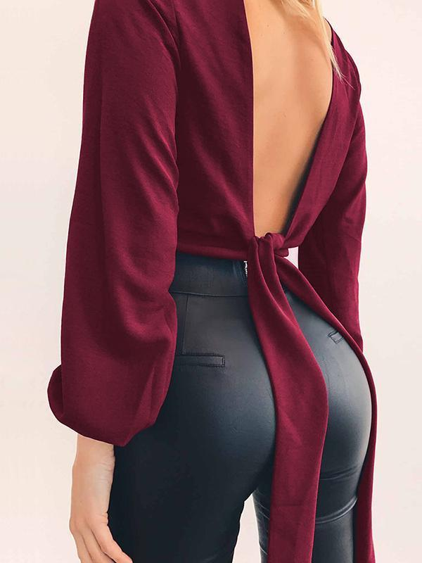 Mokoshoes Sexy Slim-Fit Long Sleeve Knotted Top