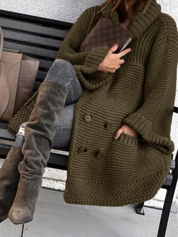 Bonnieshoes Solid Ribbed Pocket Lapel Casual Cardigan