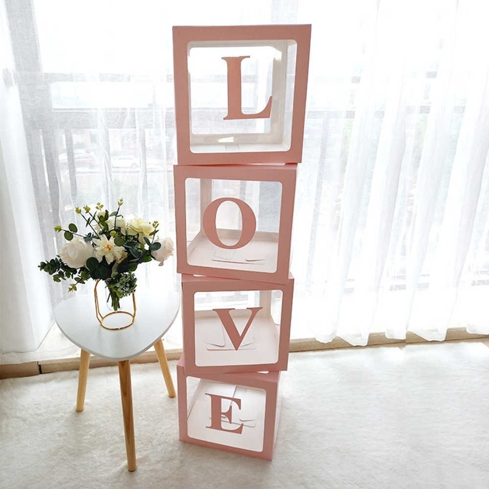 Cube Letter Transparent Box Latex Balloon BABY/LOVE Blocks for Boy Girl Baby Shower Wedding Birthday Party Decoration Backdrop (without balloons)+4PCSLED String Light(optional)