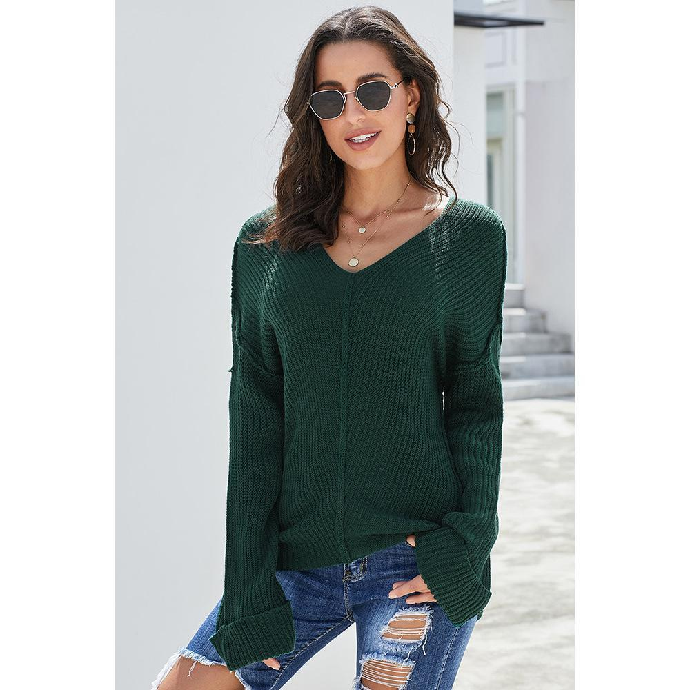 Autumn New Fashion Pure Color Knit V Neck Sweater