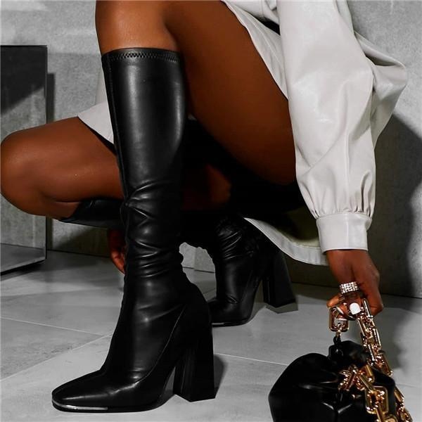 Twinklemoda Black Pu Leather Square Knee High Boots