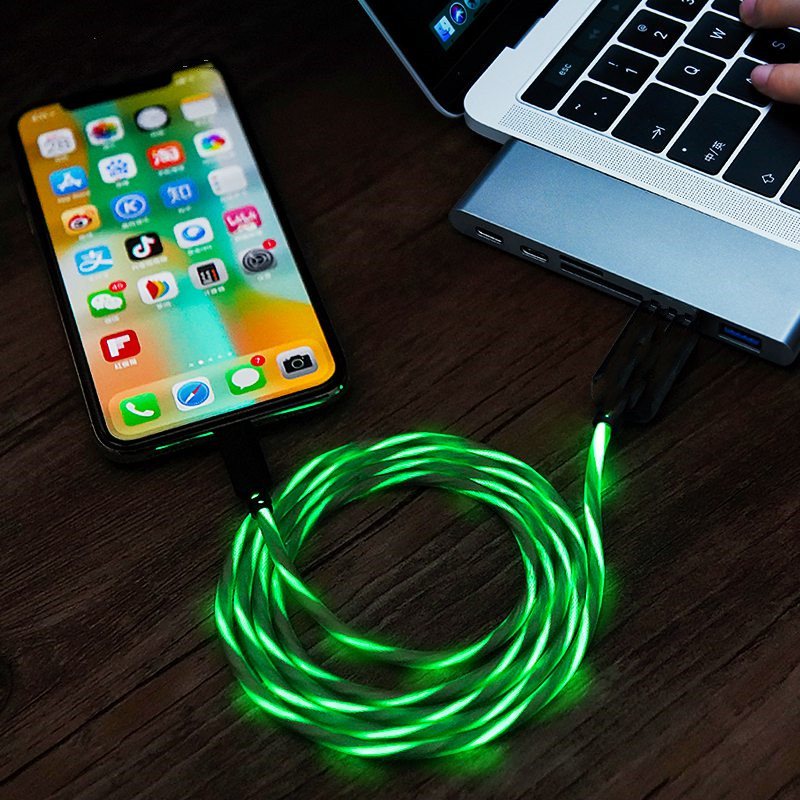 USB Auto-Disconnect Charger Cable LED Lights Flowing  Fast Adapter for IPhone Android Type-C