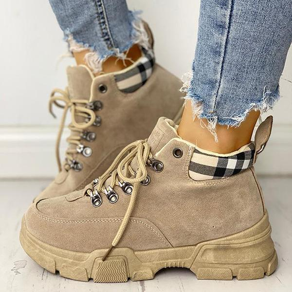 Mokoshoes Casual Plaid Splicing Lace-Up Martin Ankle Boots