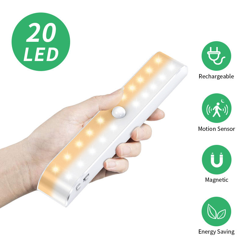 Automatic Rechargeable LED lamp human body infrared induction Li-ion battery charging Double row wardrobe lamp LED cold and warm light cabinet lamp bedroom porch night light