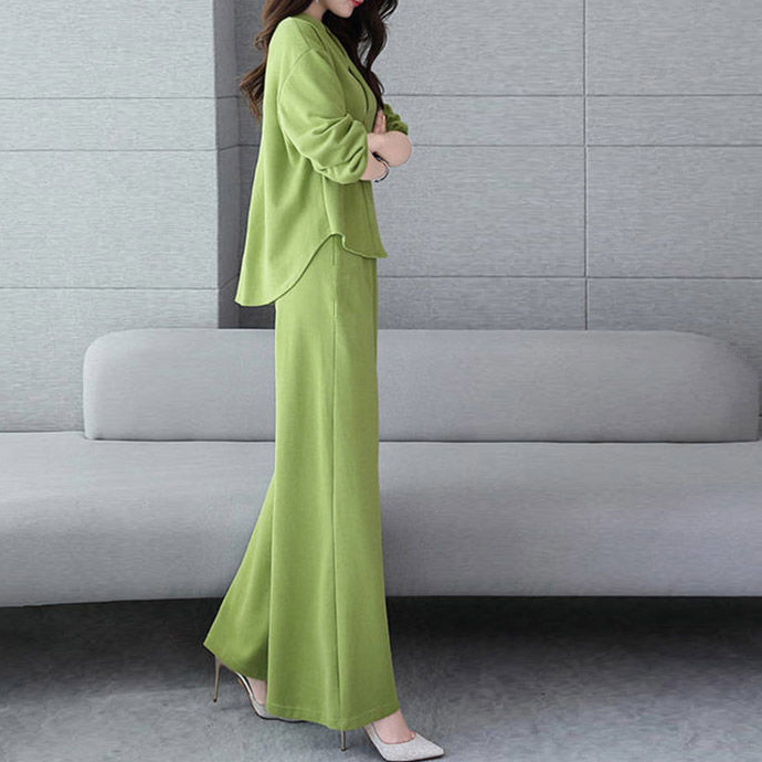 Loose And Thin Two-piece Long-sleeved Wide-leg Pants