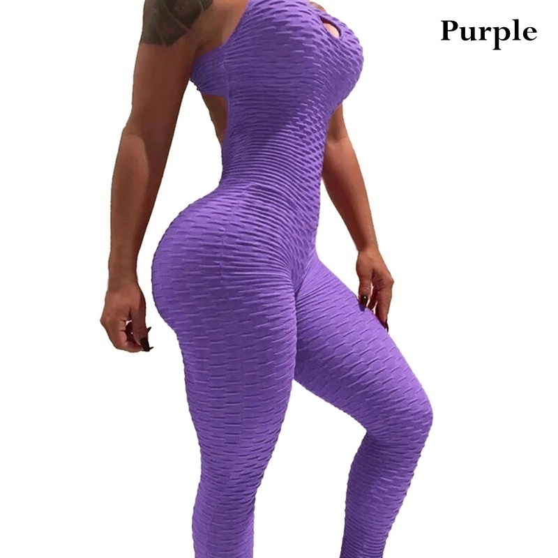 2020 Fashion Women Sexy yoga suit Hollow Backless Hips Bodysuit Solid Color Yoga Sport Jumpsuit Leggings Fitness Sets