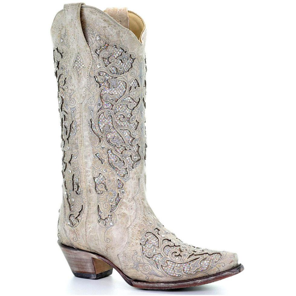 Women Rhinestone Hollow Pattern Boots Wedding  Cowgirl Boots Western Boots