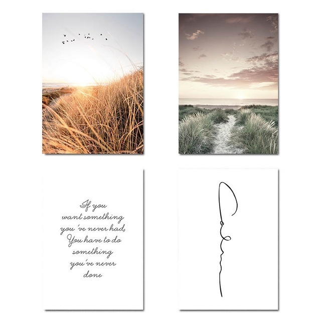 Grass Field Sunset Canvas Nordic Poster Nature Wall Art Print Landscape Painting Decorative Picture Scandinavian Home Decoration