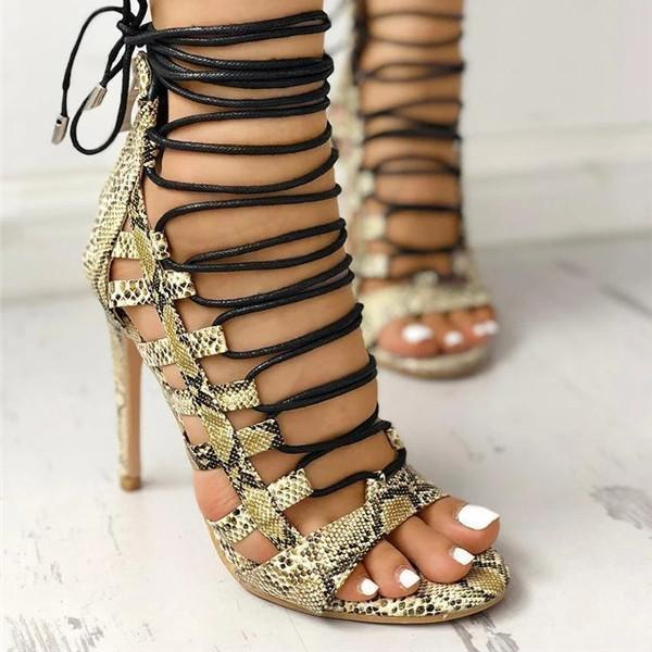 Upawear Open Toed Lace-Up Thin Heeled Sandals