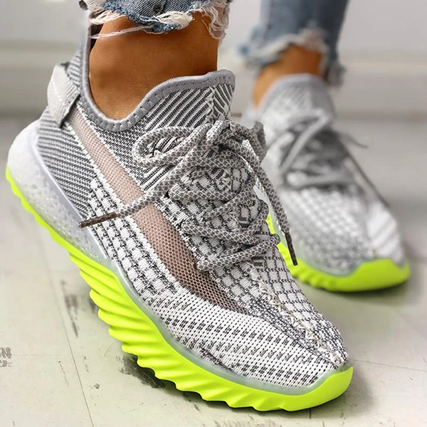 Zoeyootd Net Surface Breathable Lace-Up Yeezy Sneakers