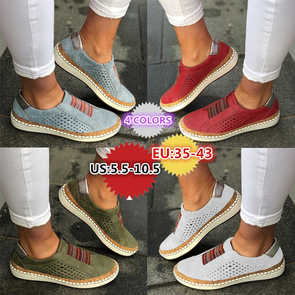 Women New Casual Breathable Slip on Flat Loafers Walking Shoes Hollow-out Round Toe Comfy Sneakers