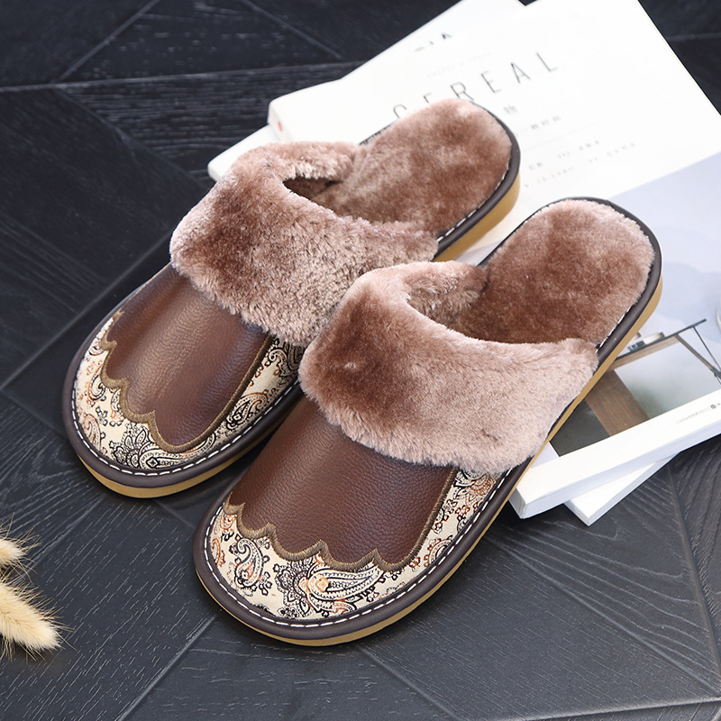 Embroidered Warm Cotton Slippers