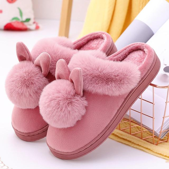 Women's furry house slippers cute bunny slippers soft winter slippers