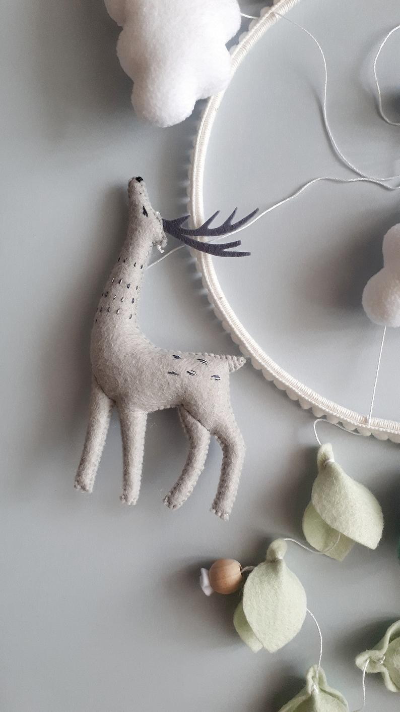 Forest crib mobile with deer, tree, birds mobile, Baby mobile for nursery