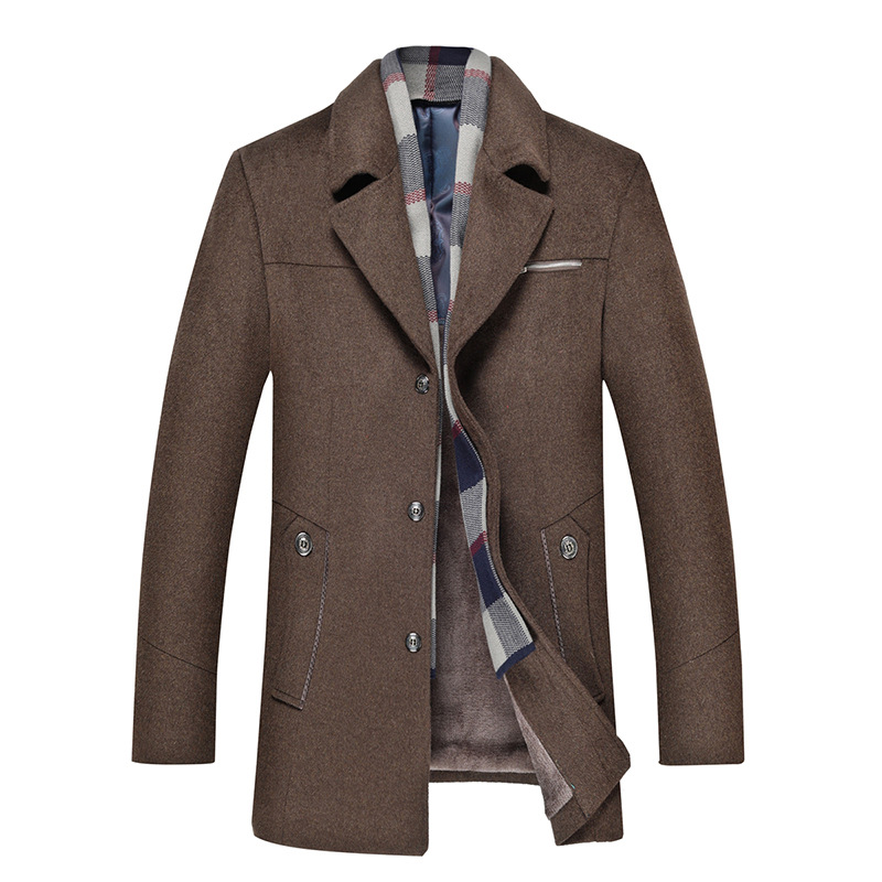 Mens Wool Detachable Plaid Scarf Collar Thicken Business Casual Overcoats