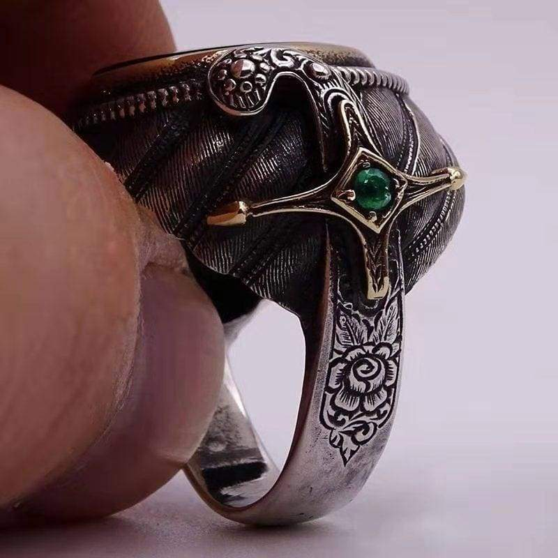 ''May God Hold You In The Palm of His Hand'' Exquisite Fashion 925 Sterling Silver  Irish  Sword inlaid Jade ring  with sword  Ring Symbols of God's Love and The Faith You Hold In Your Hear'