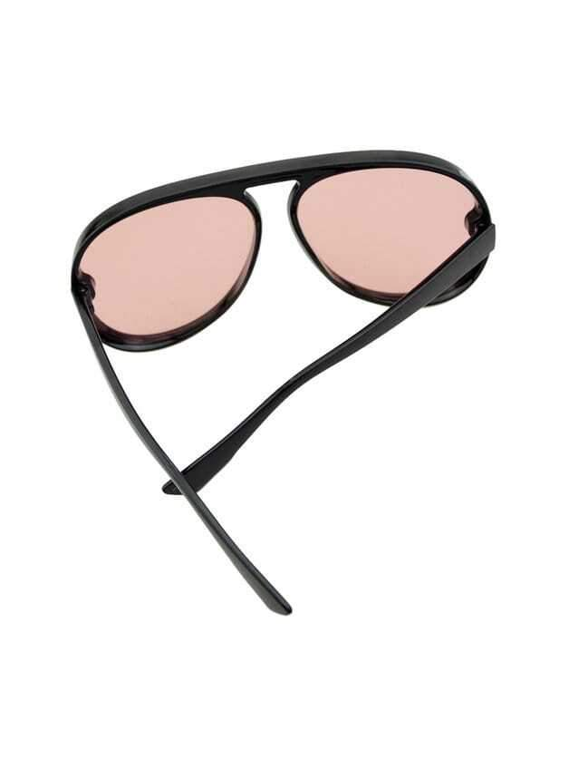 Pink Large Frame Thick Side Sunglasses