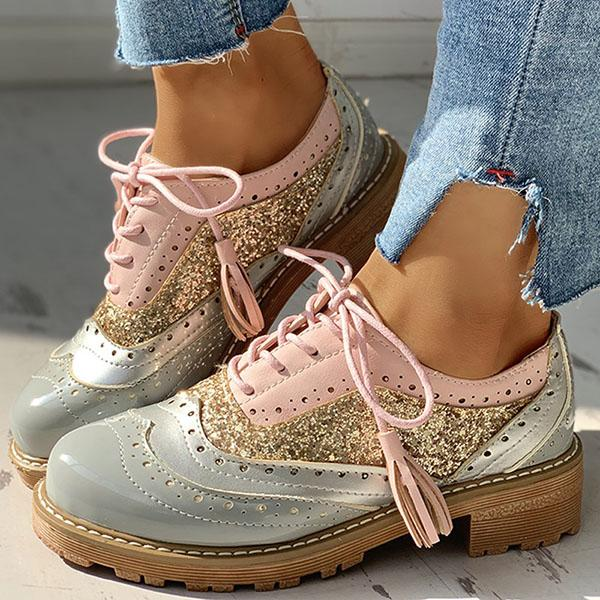 Mokoshoes Lace-Up Sequins Insert Chunky Heeled Boots