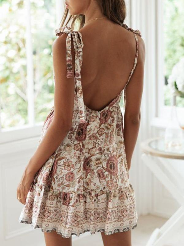 Mokoshoes Summer New Sexy Deep-v Backless Beach Vacation Printed Dress