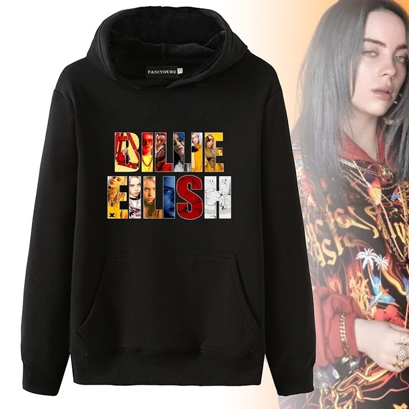 Women Fashion Casual Billie Eilish Printed Pocket Hoodie Long Sleeve Sweatshirt Pullover Tops Hoodies