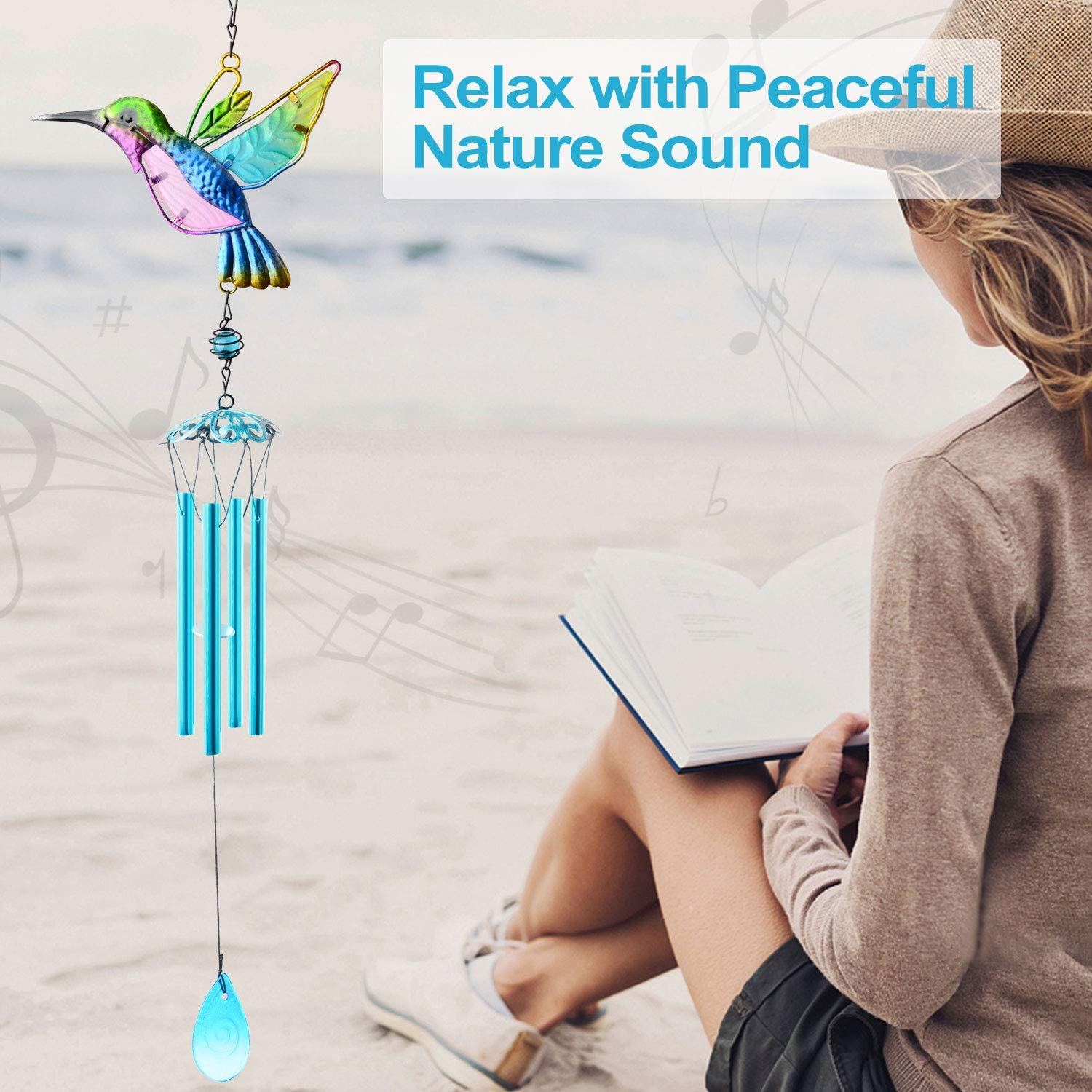 Outdoor Windchimes Indoor Stained Glass Wind Chime Metal Hummingbird