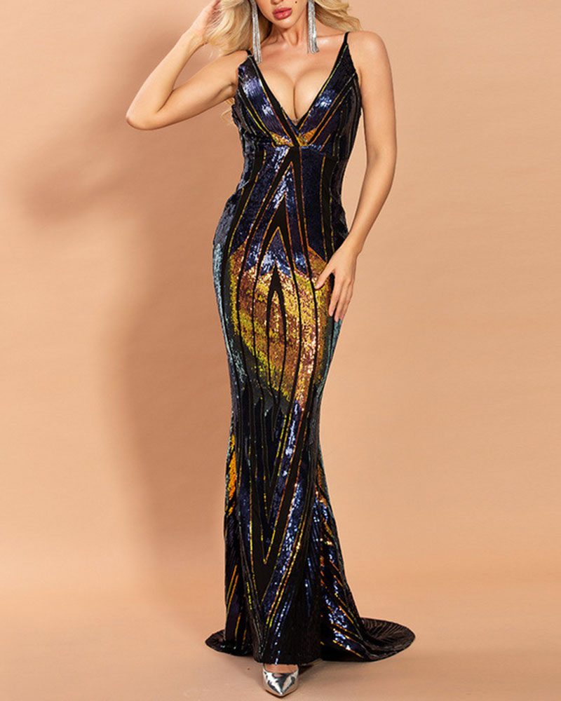 Sexy Sequin Sling Mopping Evening Dress