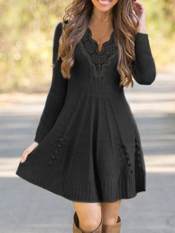 Bonnieshoes Solid Cable-Knit Lace V-Neck Casual Long Sweater Dress