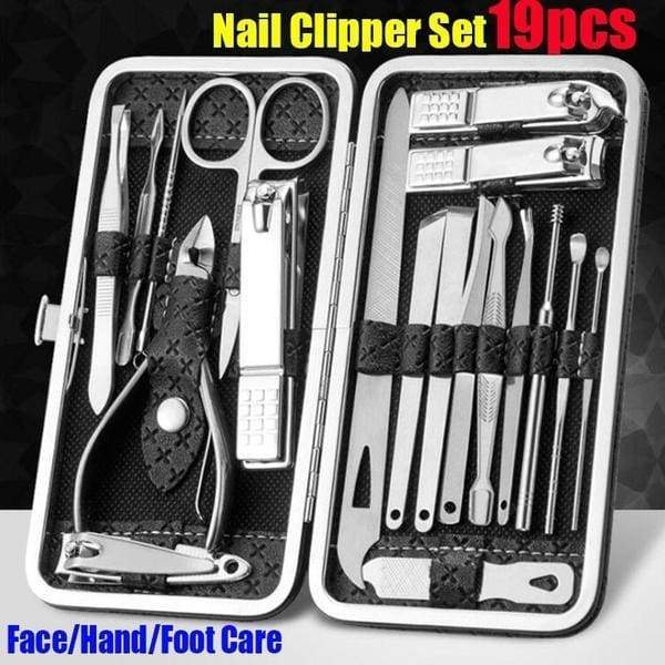 19Pcs Nail Cutter Set High Quality Stainless Steel Nail Clipper Tools Ear Pick Acne Needle Convenient Face/hand/foot Care Tools