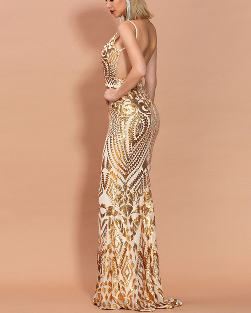 Fashion Sequin Suspender Mermaid Evening Dress