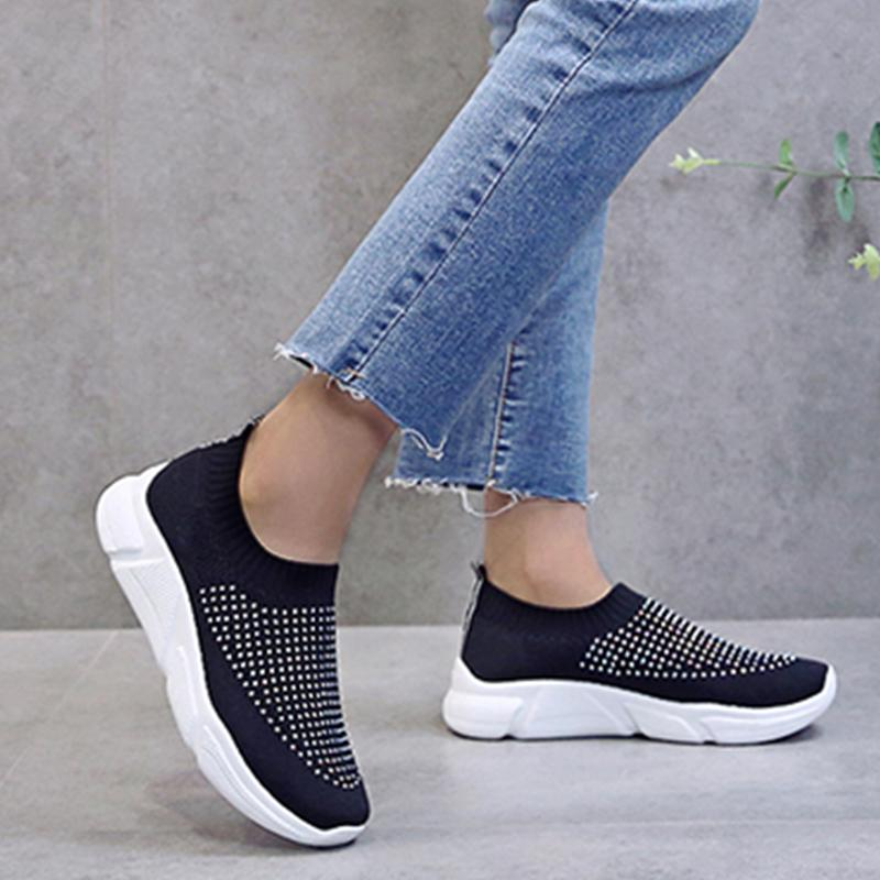 Women Daily Rhinestone Breathable Slip On Sneakers