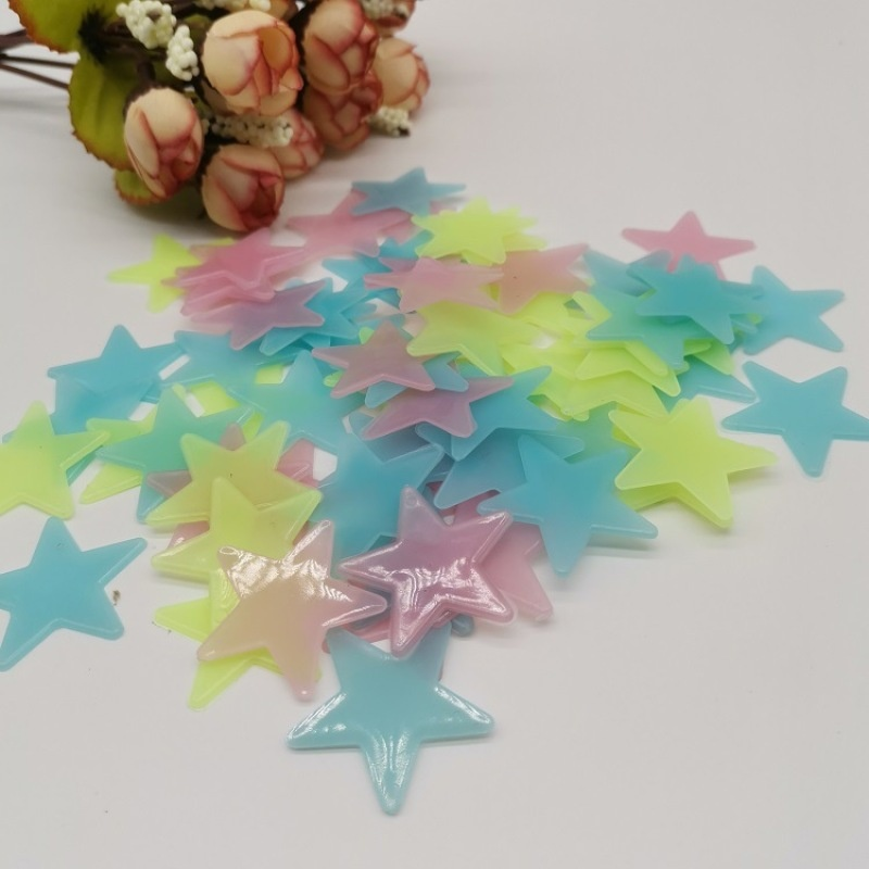 100pcs Wall Stickers Decal Glow In The Dark Baby Kids Bedroom Home Decor Color Stars Luminous Fluorescent Wall Stickers Decal Luminous Wall Stickers