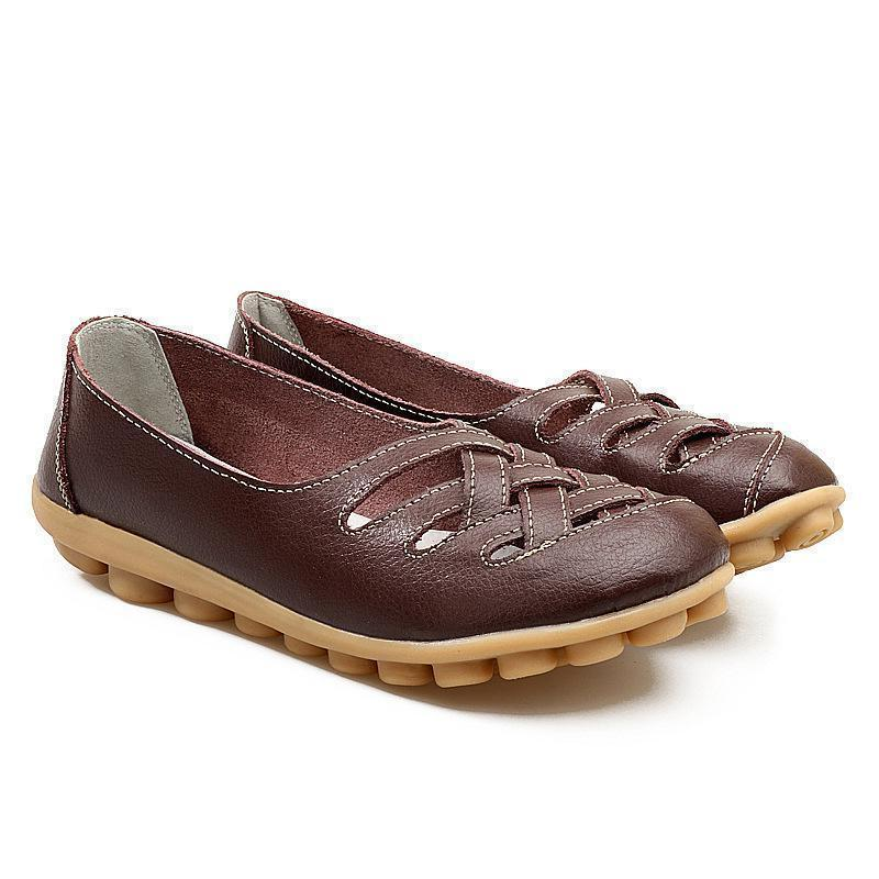 Brown Loafers Spring Series Women Driving Flat Shoes Breathable Hollow-out Design